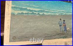Japanese Woodblock Print Hasui Kawase Shoshu Beach Authentic 1930