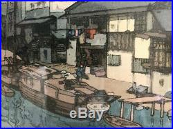 Japanese Woodblock Print Hiroshi Yoshida Signed Pencil Canal In Osaka