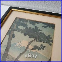 Japanese Woodblock Print Kawase Hasui Mt Fuji Pine Beach at Miho 1930s Framed