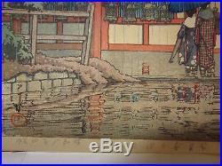 Japanese Woodblock Print Kawasi Hasui Kasuga Shrine in Rain