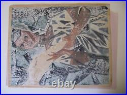 Japanese Woodblock Print Kazuo Takada Portrait Rainy Day LARGE late 1950s