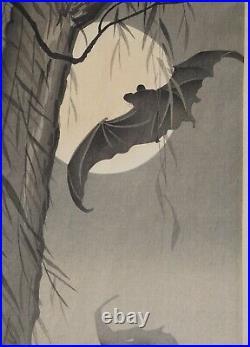 Japanese Woodblock Print, Koson OHara, Bats Against The Moon
