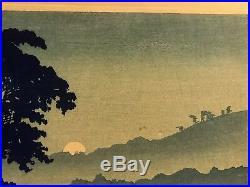 Japanese Woodblock Print Moon Rising at Naganuma by Shotei 1920s or 30s