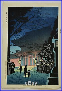 Japanese Woodblock Print Takeji Asano Night Scene Of Kitano Shrine