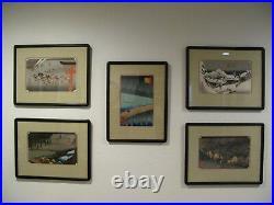 Japanese Woodblock Prints A Set of 5 by Hiroshige Ando (1797-1858)