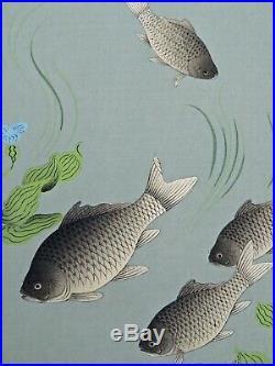 Japanese Woodblock by Bakufu Ohno Crucian Carp Familiar Fishes of Japan Series