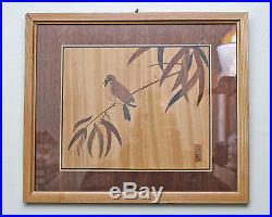 Japanese Yoseki Handicraft Wood Block Bird On Branch Art Print LC