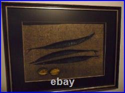 Japanese artist Tamami Shima woodblock print Fish and Lemons 1965 signed/framed