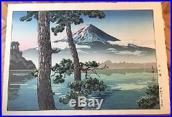 Japanese woodblock print By Koitsu Tauchiyn Mt. Fuji Lake Kawaguchi