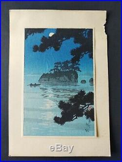 Japanese woodblock print. Kawase Hasui Moon at Matsushima Ca. 1930s
