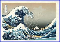 Japanese woodblock print Ukiyoe Hokusai 36 Views of Mt. Fuji RECUT GREAT WAVE