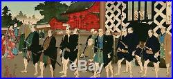 Japanese woodblock triptych print-Samurai Procession, Chikanobu