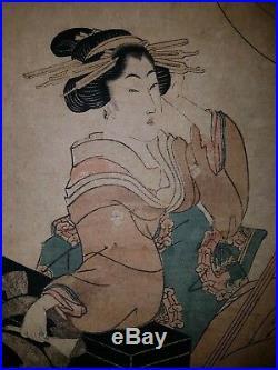 Japanischer-Farbholzschnitt- Old Japanese woodblock print Eizan Kikugawa Rare
