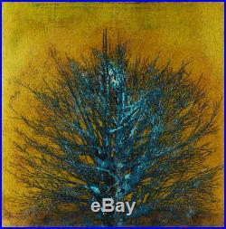 Joichi Hoshi / Japanese Woodblock Tree Print in blue / 1973
