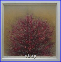 Joichi Hoshi Japanese Woodblock print Red Tree with Gold background