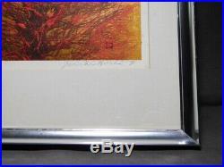 Joichi Hoshi Kozue (Aka) (Treetop red) Original Woodblock Print 1973 with frame