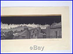 Jun'ichiro Sekino Montmarte Japanese Woodblock Print, 1959