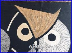 KAORU KAWANO OWLS Woodblock Print SIGNED Japanese Modernism MCM