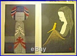 KAORU KAWANO-Two Japanese Woodblock Prints-Posthumous-Very Good
