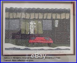 KATSUYUKI NISHIJIMA 1945- Original Japanese Wood Block Print SNOWFALL