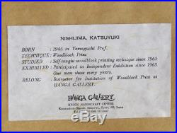 KATSUYUKI NISHIJIMA 1945- Original Japanese Wood Block Print Umbrellas