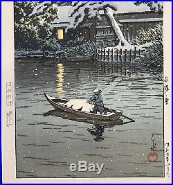 KAWASE HASUIFunabori snow1932 Japanese woodblock prints