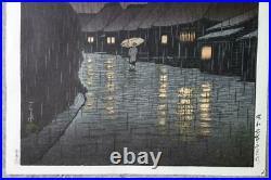 KAWASE HASUIRain at Maekawa1932 Japanese woodblock prints Landscape