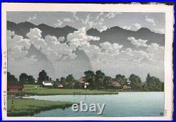KAWASE HASUI Japanese Woodblock Print Lake Kizaki in Rain, Shinshu