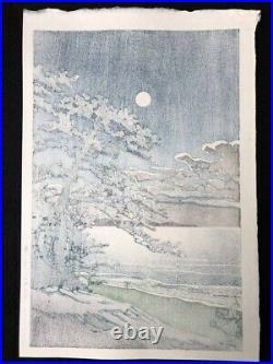 KAWASE HASUI Japanese Woodblock Print Spring moon (Ninomiya coast)