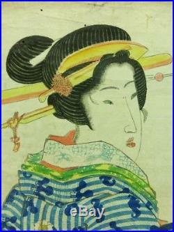 KEISAI EISEN Japanese Woodblock Print BIJIN Kimono Kanzashi Beauty EDO 21