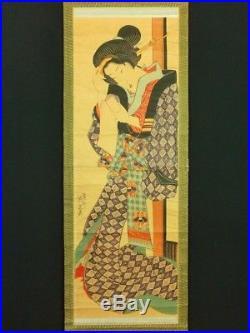 KEISAI EISEN Japanese Woodblock Print Hanging Scroll BIJIN Kimono Beauty EDO 31