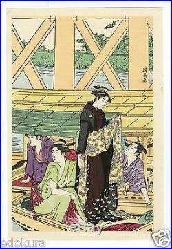 KIYONAGA JAPANESE Triptych Woodblock Print Boating Party under Azuma Bridge