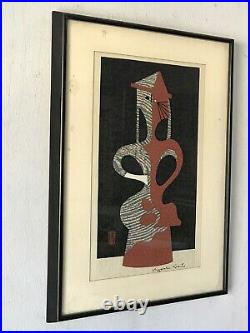 KIYOSHI SAITO HANIWA WOODBLOCK PRINT 1960s VINTAGE JAPANESE MODERN CUBIST CUBISM