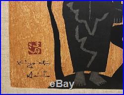KIYOSHI SAITO-Japanese Modernist- Signed Lim. Ed Color Woodblock- Female Figure