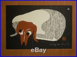 KIYOSHI SAITO-Original Signed, Vintage Modernist Japanese WOODBLOCK PRINT (DOG)