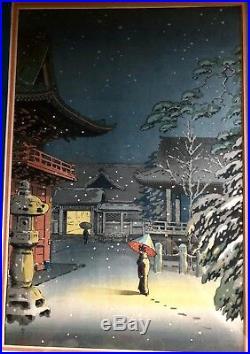 KOITSU TSUCHIYA, SNOW AT NEZU SHRINE, framed Japanese Woodblock Print