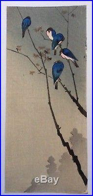 KOSON OHARA (1877-1945), Japanese Woodblock Print, Blue Birds, 1930