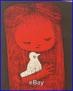 Kaoru Kawano Girl with Bird Japanese Woodblock Signed Listed Artist