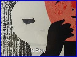 Kaoru Kawano Japanese Modernist Woodblock'girl In A Mask,' Signed, Orig. Frame