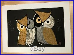 Kaoru Kawano Japanese Woodblock Print Owl