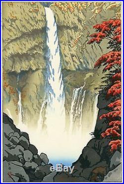 Kasamatsu Shiro JAPANESE Woodblock Print SHIN HANGA Kegon Waterfall At Nikko