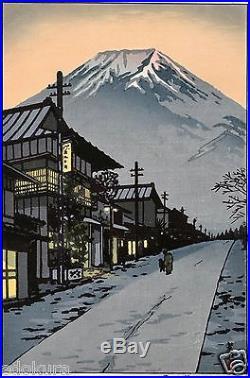 Kasamatsu Shiro JAPANESE Woodblock Print SHIN HANGA Mt. Fuji from Yoshida