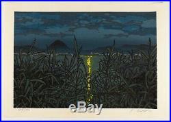 Katsuyuki Nishijima, Autumn Moon, Landscape, Original Japanese Woodblock Print