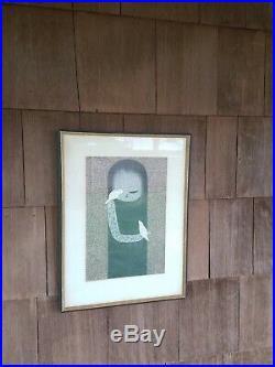 Kawano Kaoru Woodblock Print of a Girl & White Birds Japanese Modern 2D