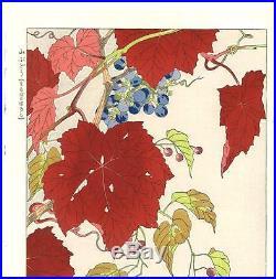 Kawarazaki Shodo F76 Yama Budo (Wild Grapes) Japanese woodblock prints