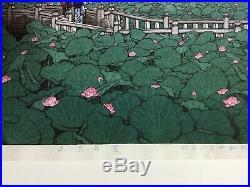 Kawase Hasui 1929 Shiba Benten Pond ukiyoe Japanese Woodblock Prints Signed