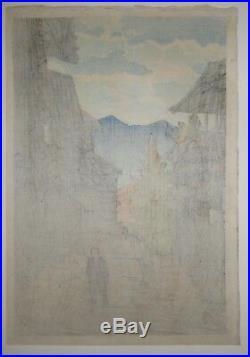 Kawase Hasui Autumn at the Arayu Spa, Shiobara Japanese Woodblock Print (1920)