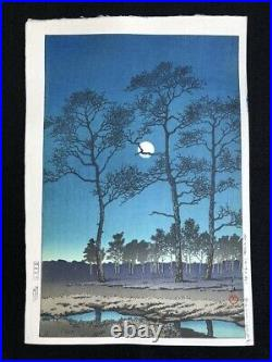 Kawase Hasui Japanese Woodblock Print 1931 Winter Moon at Toyamagahara