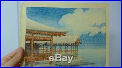 Kawase Hasui Japanese Woodblock Print Snow on a Clear Day at Miyajima