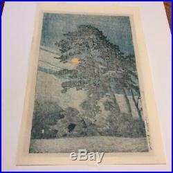 Kawase Hasui Japanese Woodblock Print moon over Magome Watanabe